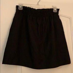 J crew black wool-blend cinched skirt